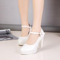 韩版一字扣浅口职业女鞋高跟细跟优雅防水台高跟单鞋女鞋