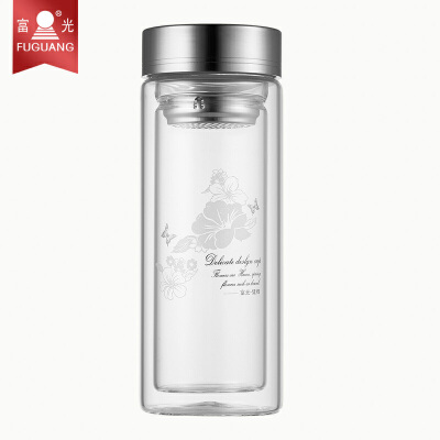 富光双层玻璃杯703-320ml透明 带盖过滤茶杯 玻璃杯子 水杯防漏