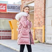 MG小象粉色羽绒服女中长款加厚保暖2019新款白鸭绒时尚大毛领外套