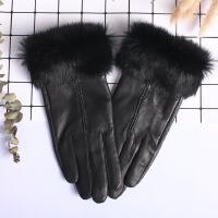皮手套女冬韩版兔毛口触摸屏女士保暖真加绒加厚保暖可爱短款手套