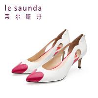 莱尔斯丹 春专柜新款尖头细跟拼色甜美女凉鞋 9M56321