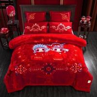 婚庆拉舍尔毛毯双层加厚云毯冬季大红色盖毯结婚毯子床上用品被子 良辰美景10斤 200cmx230cm正负5cm