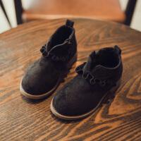 2017秋新款棉靴公主鞋女童靴子短靴小童皮鞋宝宝加绒棉鞋潮