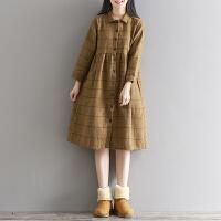 孕妇春装毛呢连衣裙小清新中长款大码长袖森系加厚格子裙呢子外套