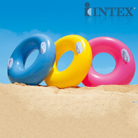 泳圈INTEX小孩大人成人加厚充气浮圈救生圈把手腋下游泳圈