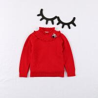 女童毛衣套头立领加绒加厚保暖秋款女宝宝针织衫打底衫2-3-4岁