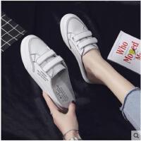 懒人鞋女一脚蹬平底半拖帆布鞋女学生韩版浅口小白鞋女