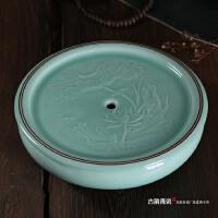 正宗龙泉青瓷储水茶盘 陶瓷紫砂 功夫茶具双层茶盘
