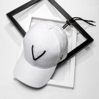 2018新款王嘉尔同款帽子女黑白色棒球帽男士潮流个性系带嘻哈帽潮牌鸭舌帽 可调节