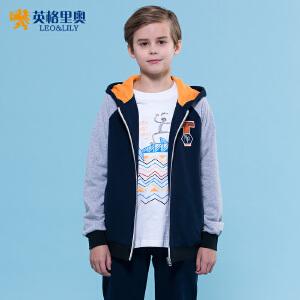 英格里奥2018秋装新款青少年儿童棉带帽卫衣卫裤两件套男中大童棒球服套装