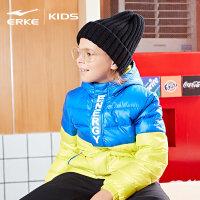 【3件3折到手价:191.7元】鸿星尔克(ERKE)儿童童装2018冬季新款男童炫彩个性双色拼接连帽羽绒服外套