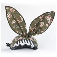 布艺兔耳朵蝴蝶结马尾夹横夹发夹马尾扣扭夹韩版发饰