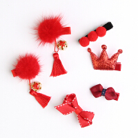 婴儿发夹套装 可爱皇冠发量少女宝宝发带头饰儿童发卡发饰 红色 新年红系列1