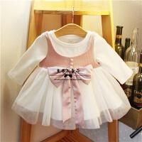 2017秋款韩版女童装连衣裙小童网纱拼接假两件裙子婴幼儿长袖裙子 QS5035白色