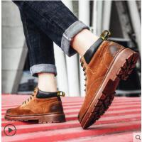 网红时尚潮流马丁靴男中帮男鞋户外新品皮靴男士靴子男韩版潮流英伦风工装靴男短靴