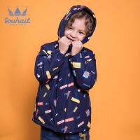 【3件3折:146元】水孩儿souhait童装秋冬装新款男童抽象色块厚风衣AMD0835577