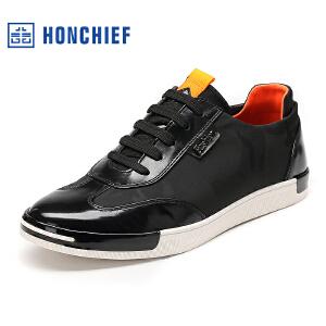 HONCHIEF 红蜻蜓旗下 板鞋男韩版潮 秋季新款休闲系带男单鞋真皮