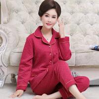 秋冬季夹层中年妈妈睡衣女纯棉加厚长袖薄夹棉中老年人家居服套装