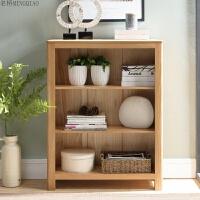 纯实木书架白橡木置物架三层小书柜 书房北欧简约家具 原木色小书架(850*300*1090mm)