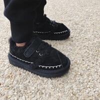 儿童雪地靴2018冬季新款韩版中大童鞋男女童棉靴防滑加绒保暖短靴 黑色