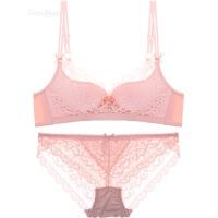 性感蕾丝刺绣文胸套装无钢圈聚拢女士内衣三排扣收副乳胸罩 粉色 文胸+内裤