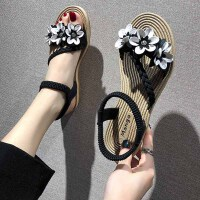 凉鞋 女士松紧带花朵平底罗马鞋2019年夏季新款韩版时尚女式潮流女鞋沙滩鞋