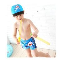 冰沙cesand韩版儿童游泳衣 哆啦A梦男孩小中童泳裤带泳帽蓝色