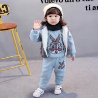 小宝宝冬装女孩0加绒1新款卫衣2婴幼儿童洋气女童三件套装秋冬3岁