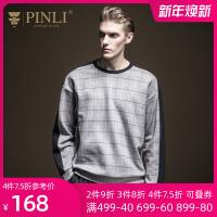 PINLI品立2020春季新款男�b格子�A�I落肩套�^�l衣上衣B193609371