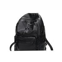 水洗软皮双肩背包女韩版潮时尚约百搭妈咪包休闲旅行背包大容量SN9036 黑色