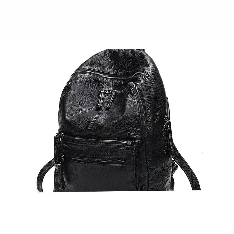 水洗软皮双肩背包女韩版潮时尚约百搭妈咪包休闲旅行背包大容量SN9036 黑色 发货周期:一般在付款后2-90天左右发货,具体发货时间请以与客服协商的时间为准