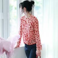 MIUCO欧洲站女装2018早春新款三角形挖空设计感真丝衬衫印花上衣