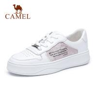 骆驼女鞋2019春夏新品厚底板鞋韩版厚底透明胶片单鞋 休闲小白鞋