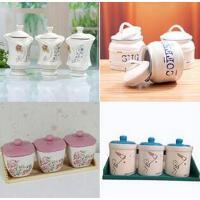陶瓷密封罐 仿搪瓷调味罐三件套 咖啡糖果茶叶防潮保存 款式*