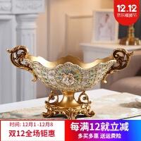 家装软饰 欧式高档干果盘奢华客厅茶几摆件时尚高脚创意多层贴钻果盘装饰品