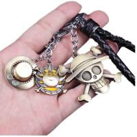 海贼王航海王动漫周边草帽团路飞索隆骷髅标志金属钥匙扣挂件礼品