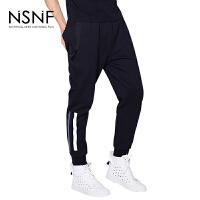 NSNF反光条黑色慢跑裤男士卫裤休闲裤 2017年新款男士休闲裤  潮牌针织男裤