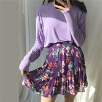 【Muzly】INS小姐姐推荐初夏薄款糖果色长袖T恤女+百褶碎花半身裙