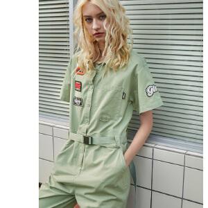 PASS2018新款夏装美式复古短袖工装连体裤女学生阔腿收腰连体裤潮