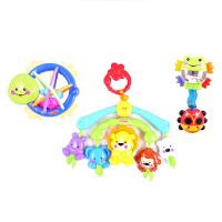 费雪婴儿床铃玩具可爱动物豪华新生儿礼盒摇铃床挂便携床铃X7169