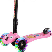 炫梦奇儿童滑板车2-6岁-12岁-16岁四轮小孩折叠闪光滑滑车宝宝踏板车 三两轮摇摆滑轮车幼儿脚踏车 粉色