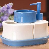 陶瓷卫浴四件套带托盘 洗漱套装蓝色陶瓷卫浴瓶卫生间洗手液瓶新中式浴室洗漱用品液体瓶