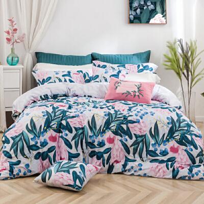 LOVO家纺 全棉四件套床上用品纯棉田园风被套床单花卉套件 1.2/1.5/1.8米床 密境