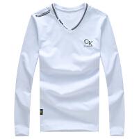 卡帝乐鳄鱼(CARTELO)长袖T恤男2017秋款纯棉V领商务休闲长袖衫