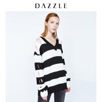 DAZZLE地素 新款 个性肩背洞眼镂空宽条纹V领针织衫 2A4E4592A