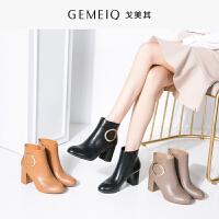 戈美其冬季新款女短靴圆头高跟鞋棉鞋粗跟加绒时装靴女鞋
