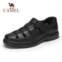 camel骆驼男鞋夏季镂空皮鞋男透气休闲轻盈减震凉鞋牛皮中老年爸爸鞋