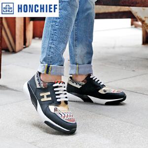 HONCHIEF 红蜻蜓旗下 2017春季新款时尚拼色男单鞋韩版休闲男鞋