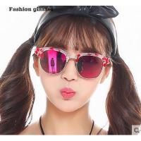 经典椭圆花纹半框偏光彩膜太阳镜 复古潮流户外墨镜 休闲旅游眼镜 可爱装饰眼镜