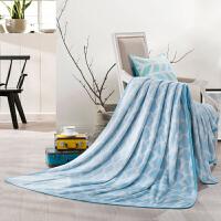 LOVO家纺床上用品办公室午休单双人毛毯盖毯子法兰绒毯 夏日海浪法兰绒毯
